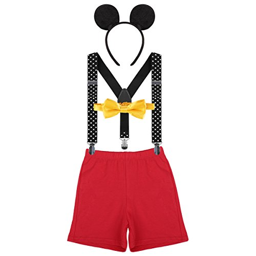 Baby Boys 1st Birthday Cake Smash Outfit Adjustable Y Back Suspenders Bowtie Bloomers Mouse Ears Headband Photo Costume Red + Black #a 12-18 Months ()