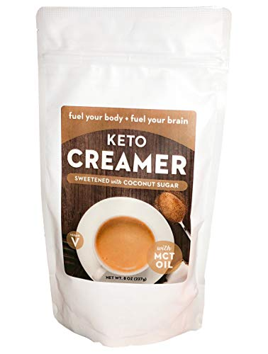 Keto Creamer with MCT Oil, Dairy Free Super Creamer (Sweetened Coconut Sugar, 8 OZ)
