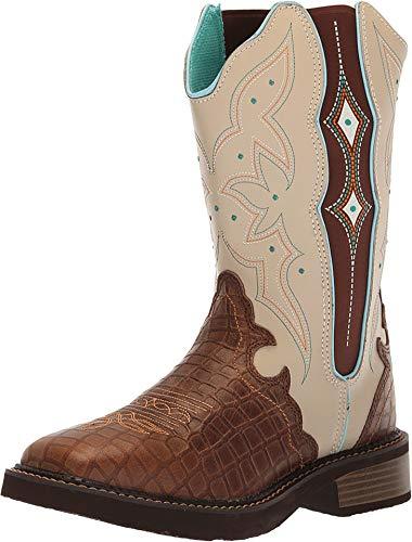 Justin Ladies Gypsy Sq Toe Buffalo Gator Boots 8.5 Brown