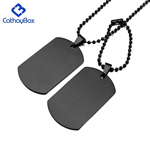 Davitu Personalized Engraving A Set of Two Pieces Mens Military Army Stainless Steel Blank Double Dog Tag Necklace Ball Chain 60cm Metal Color: Black-No Engrave