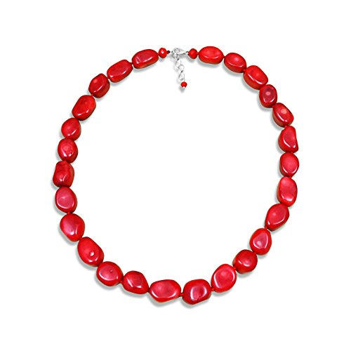 """MGR High Polished Red Sea Bamboo Coral Nuggets Collar Statement Necklace, 18"""" Inch Long. (Red Bead Coral Sea)"""