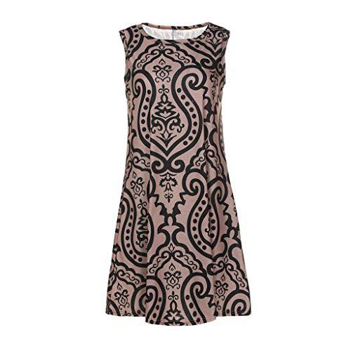 MIS1950s Women Summer Sleeveless Damask Print T-Shirt Dress Ladies Summer Casual Mini Dress ()