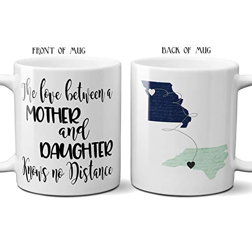 Mothers Day Gift Coffee Mug State Long Distance Love Between Mother Daughter Son Knows No Distance