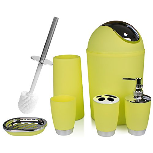 SOELAND Yellow Bathroom Accessories Set,6 Piece Plastic Luxury Bath Vanity Countertop Accessories Bath Set, Toothbrush Holder,Toothbrush Cup,Soap Dispenser,Soap Dish,Toilet Brush Holder,Trash - Bathroom Vanity Yellow