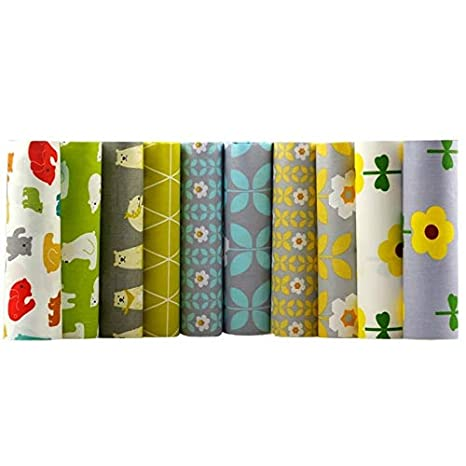 Amazon.com: Juego de 10 piezas de tela de algodón estampado ...