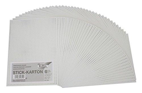 Folia 2322 - Stickkarton, unbedruckt, 300 g/m², 17.5 x 24.5 cm, 40 Blatt, weiß