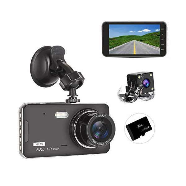 Dash Cam Front and Rear Dual with 32G SD Card, SILINTION Dash Camera 4 inch Dashboard...