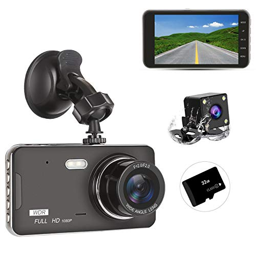 Dash Cam Front and Rear Dual with 32G SD Card, SILINTION Dash Camera 4 inch Dashboard Camera Full HD 170° Wide Angle Backup Camera with Night Vision G-Sensor Parking Monitor Loop Recording Motion Dete (Best Front And Rear Dash Cam 2019)