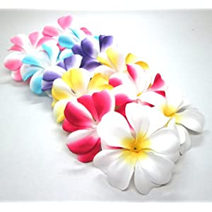 "(100) Assorted Hawaiian Plumeria Frangipani Silk Flower Heads - 3"" - Artificial Flowers Head Fabric Floral Supplies Wholesale Lot for Wedding Flowers Accessories Make Bridal Hair Clips Headbands Dress 22"