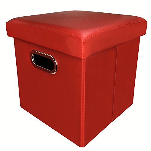 ZHICHEN Ottoman with Storage, Cube Basket Bins, Foot Rest Seat, Folding Leather Organizer or Coffee Table, Clutter Toys Collection, with Hand Buckle Quick Assembly Easy Carry (Claret)