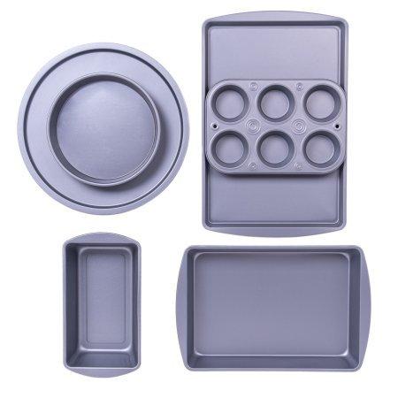(BakerEze 6-Piece Non-stick Bakeware Set, Muffin Pan, Cake and Loaf Pan, Pizza Pan, Baking Sheet)