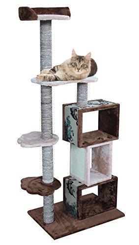 Modern Cat Tower Furniture Kitty Tree, Brown/Beige (Cat Furniture Tower Beige)
