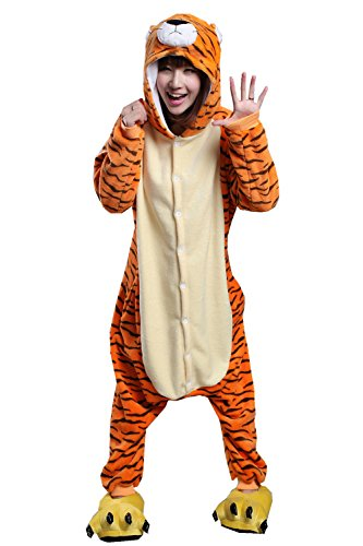 Adult Unisex Cute Halloween Party Fancy Dress Tiger One-Piece Costume (Tiger Costume Men)
