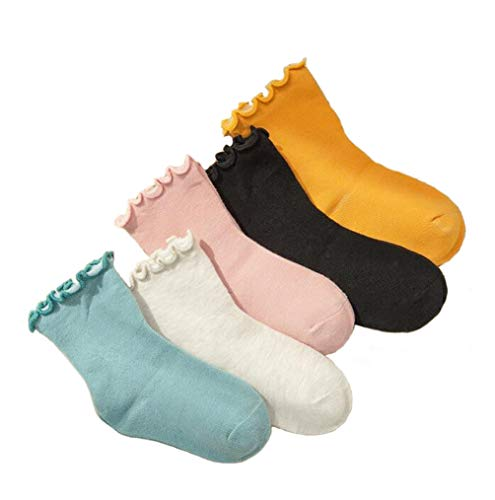Flyusa 5 Pairs Autumn Winter Candy Color Cotton Socks Sweet Rolled Edge Children Kids Socks for 7-9 Years Old,L,Random Color -