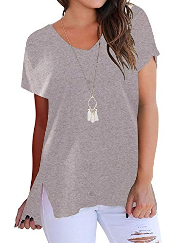 (Lofbaz Women's Short Sleeve High Low Loose T Shirt Basic Tops Tee with Side Slit - River Stone #524 - S)