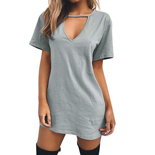 HYIRI Women's Choker V Neck Long Tops T-Shirt Vintage Sweet Cute Ladies Casual Party Mini Dress Blouse Gray ()