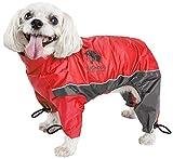 TOUCHDOG 'Quantum-Ice' Full Body Bodied Adjustable and 3M Reflective Pet Dog Coat Jacket w/ Blackshark Technology, X-Large, Red, Charcoal Grey