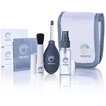 Pro Optic Complete Lens & Glasses Cleaning Kit with Microfiber Lens Cleaning Cloth, Fine Brush, Wipes, Cleaning Spray, Air Blower, Carrying Case for Canon, Nikon, Sony, Fuji DSLR Cameras