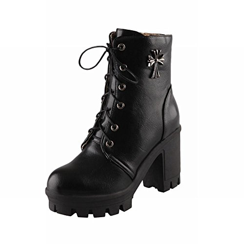 Fashion Women's Lace-up Metal Cross Decorations Combat High Heel Martin Boots