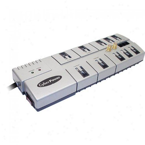 Cyberpower 1080 10-Outlet Surge Suppressor - 3600 Joules 15A RJ11/Coax EMI/RFI Right-angle (Discontinued by Manufacturer) (10 Outlet Suppressor Surge)