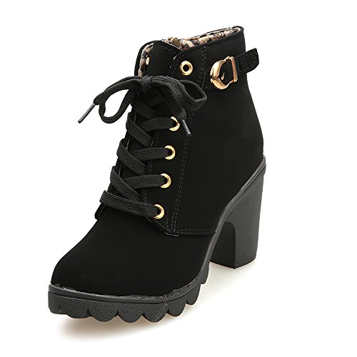 Pocciol Lady Girl Lucky Shoes, Womens Fashion High Heel Lace up Ankle Boots Ladies Buckle Platform Shoes (Black, US:4.5) (Bohemian Revolution)