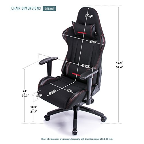 Aminiture Big And Tall Gaming Chair Black High Back