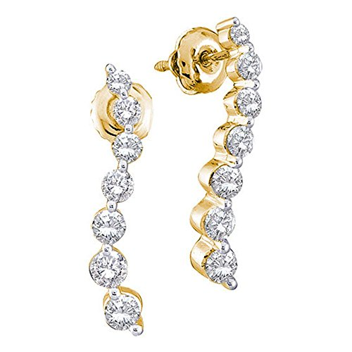 14k Yellow Gold Round 7 Seven Diamond Dangle Twist Journey Earrings - 17mm Height 3mm Width (1/2 cttw)