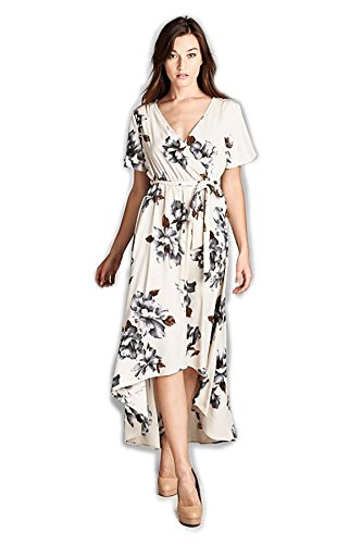 Tua USA Hi Low Short Sleeve Exotic Bohemian Print Knit Wrap Maxi Dress (Wildflower Ivory, S)