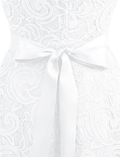 Dressystar Women Floral Lace Bridesmaid Party Dress Short Prom Dress V Neck XXXL White