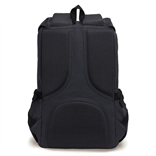 ONEB Casual Laptop Canvas Backpack Unisex Vintage Leather School Bags Large Capacity Hiking Travel Rucksack Business Daypack (19 inches Black) by ONEB (Image #4)
