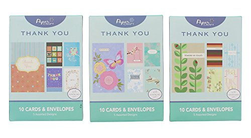 Paper Craft Thank You Greeting Cards Assortment Set with Envelopes - 3 Pack 15 Different Designs - 15 Count (Masculine Paper)