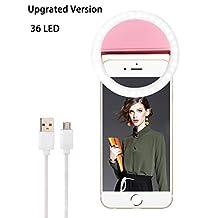 Advaka Selfie LED Lighting Camera 36 LEDs 3-Level Brightness Selfie Ring Light Clip On for iPhone 7 6 6S Plus 5S SE iPad Samsung Galaxy S7 S6 Edge Plus Sony, Motorola and all Smart Phones (Pink)