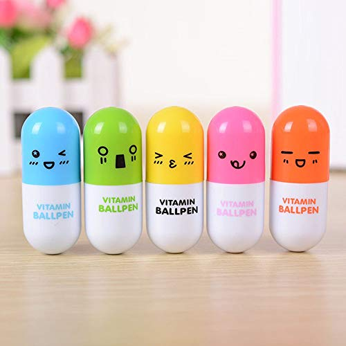 Tcplyn Premium Quality 3Pcs Ball Point Pen Creative Cartoon Expression Capsule Pill Retractable Pen Random Color by Tcplyn (Image #1)