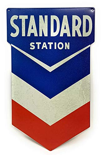 Standard Station Sign, Nostalgic Looking Gas Oil Service Station Retro Metal -