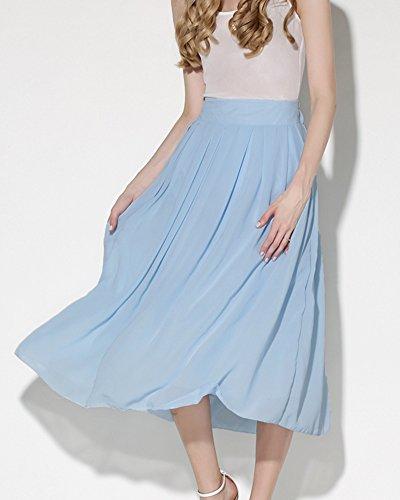Mujer Retro Cintura Elástica Falda Larga Color Sólido Fiesta Faldas Plisadas Maxi Cielo Azul