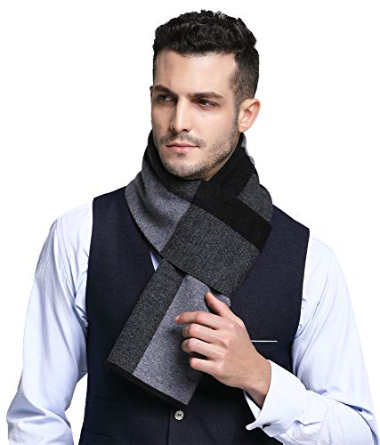 RIONA Mens 100% Australian Soft Merino Wool Knitted Plaid Warm Scarf with Gift Box