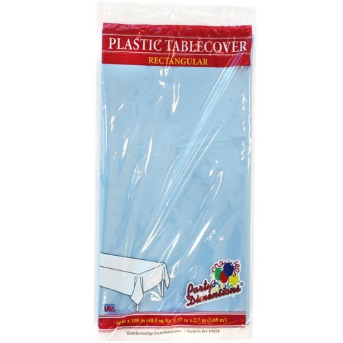 Plastic Party Tablecloths - Disposable, Rectangular Tablecovers - 8 Pack - Light Blue - By Party (Halloween Main Course Dishes)