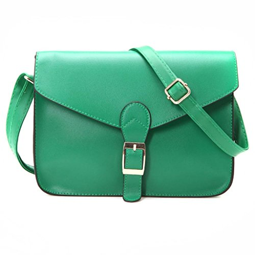 New Fashion Women PU Leather Handbag Crossbody Satchel Shoulder Messenger Bag-Green