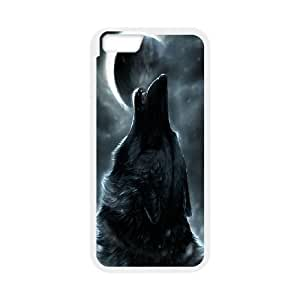 K-G-X Phone case For Apple Iphone 6 Plus 5.5 inch screen Cases Case-Pattern-14 Wolf at Moon Night Protective Back Case