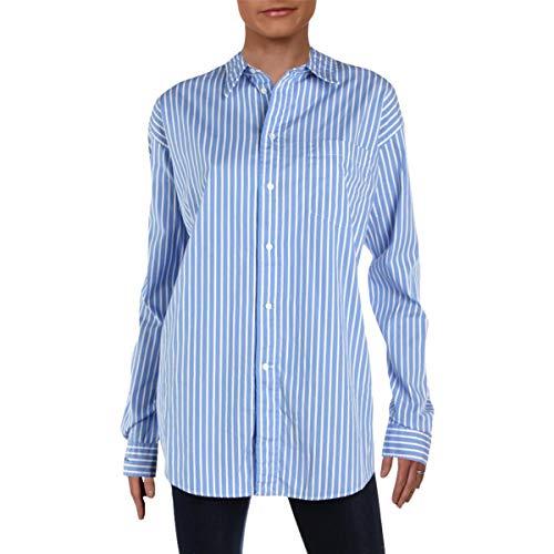 LAUREN RALPH LAUREN Womens Striped Button-Down Blouse Blue L
