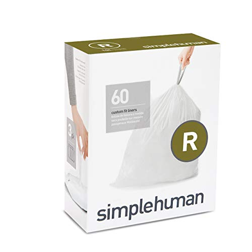 simplehuman Code R Custom Fit Drawstring Trash Bags, 10 Liter / 2.6 Gallon, 3 Refill Packs (60 Count)
