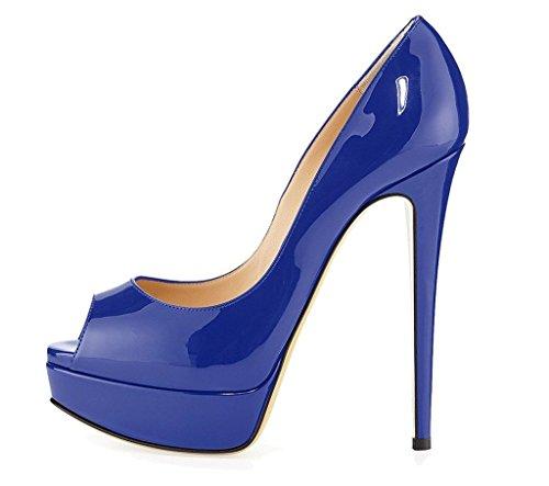 Kolnoo , Escarpins peep-toe femme Bleu