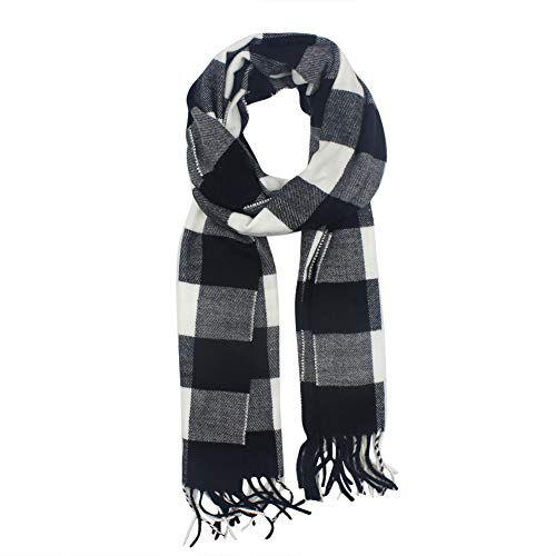 Kids Cashmere Winter Scarf Plaid Shawl Wrap Warm Scarves for Boys Girls