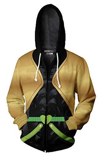(JoJo's Bizarre Adventure Jotaro Kujo Hooded Sweater 3D Printed Kujo Jotaro Zipper Coat Jacket Hoodie (M, Dio))