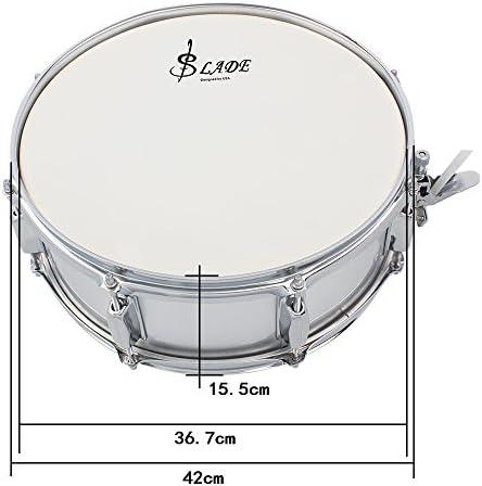 ammoon Caja de Tambor Profesional 14 Pulgadas con el Palillo Correa de Batería para Student Band: Amazon.es: Instrumentos musicales