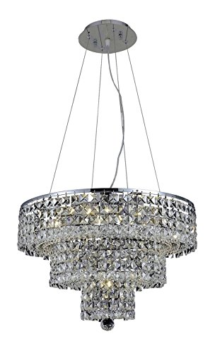 - OmniLucent ARCD20C-6111 Sicily Collection Chandelier with 9 Lights and Clear Crystals, 20