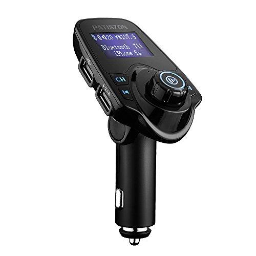 Patiszon Bluetooth FM Transmitter KFZ Auto Radio Adapter freisprecheinrichtung Car Kit integriertem mit 2 USB Ladegerät 3.5 mm AUX TF-Karten-Slot für iPhone Samsung iPad HTC Usw
