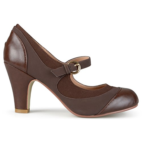 Brown Suede Mary Jane - Brinley Co. Womens Tweed Two-Tone Mary Jane Pumps Brown, 9 Regular US