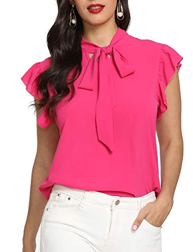 - Romwe Women's Bow Tie Neck Short Sleeve Casual Office Work Chiffon Blouse Shirts Tops Rose M
