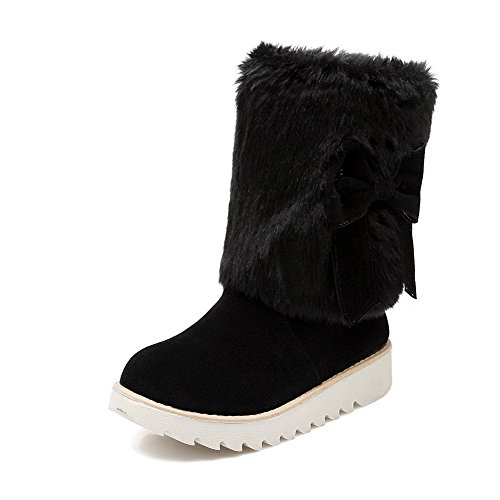 voguezone009-womens-round-closed-toe-low-heels-frosted-low-top-solid-boots-black-41